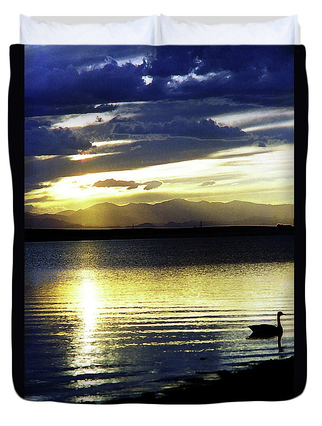 Sunset Duvet Cover featuring the photograph Sunset Over Aurora by Ric Bascobert