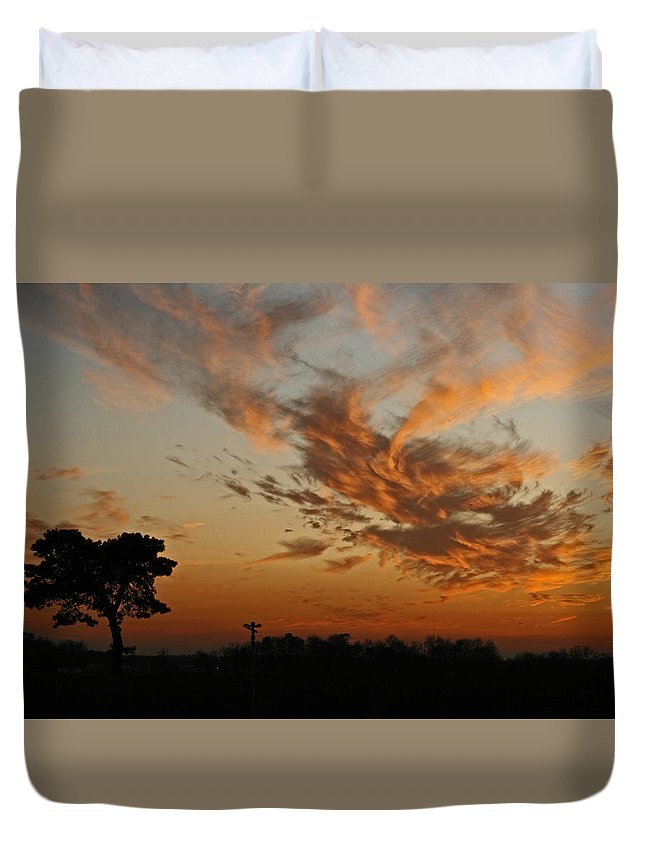 Sunset Duvet Cover featuring the photograph Sunset Over Blueberry Field by Kristia Adams