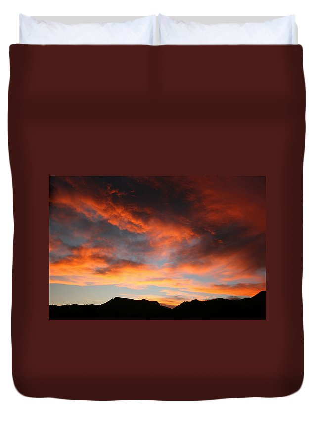 Sunset Duvet Cover featuring the photograph Sunset Over Estes Park by Angie Schutt