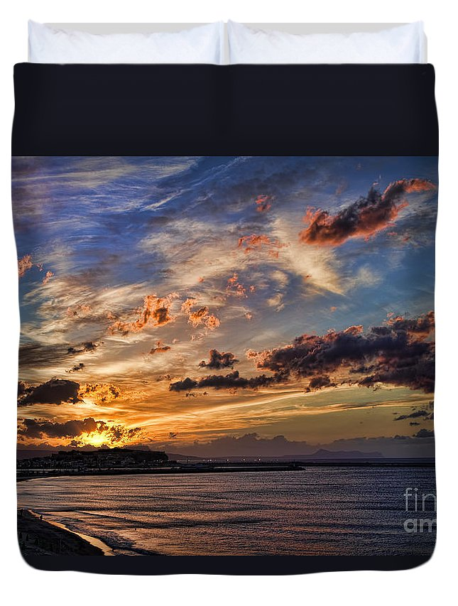 Sunset Duvet Cover featuring the photograph Sunset Over Rethymno Crete by David Smith