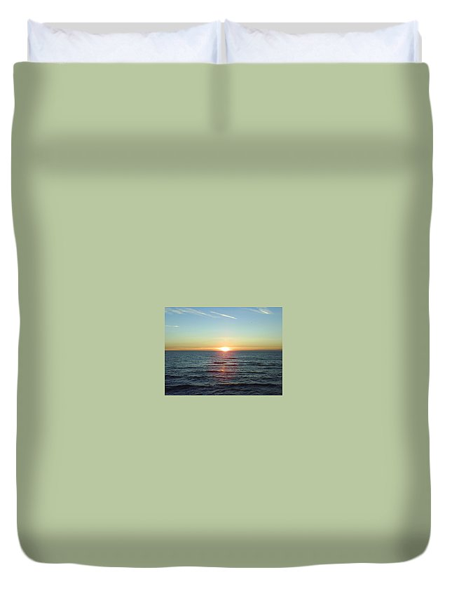 Sunset Over Sea Duvet Cover featuring the photograph Sunset Over Sea by Gordon Auld