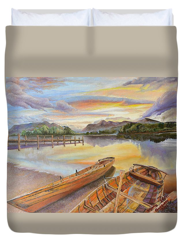 Landscape Duvet Cover featuring the painting Sunset Over Serenity Lake by Mary Ellen Anderson