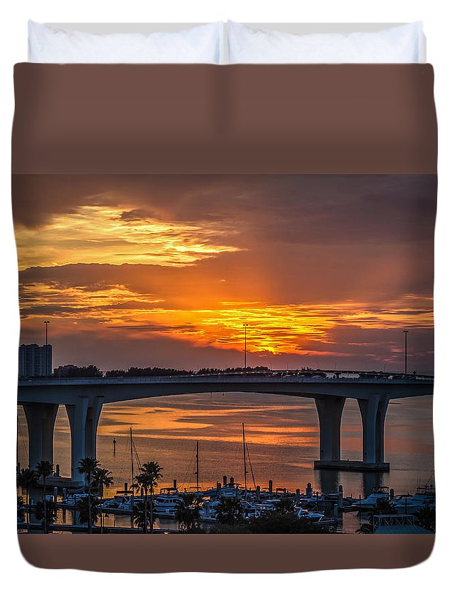 Clearwater Beach Duvet Cover featuring the photograph Sunset Over The Bridge by Jane Luxton