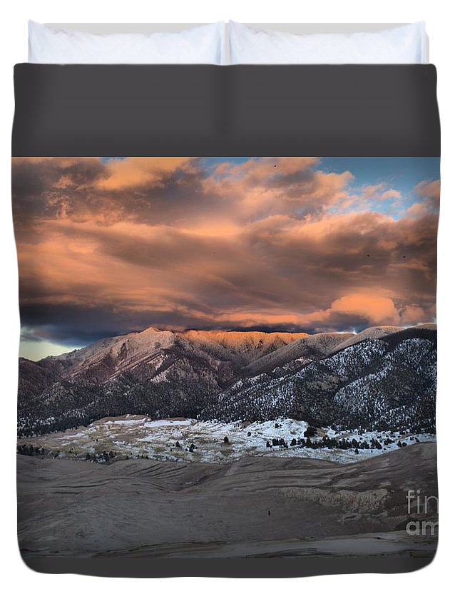Great Sand Dunes National Park Duvet Cover featuring the photograph Sunset Over The Dunes by Adam Jewell