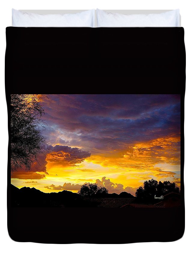Sunset Duvet Cover featuring the photograph Sunset Over The Mc Dowell Mountains by Barbara Zahno