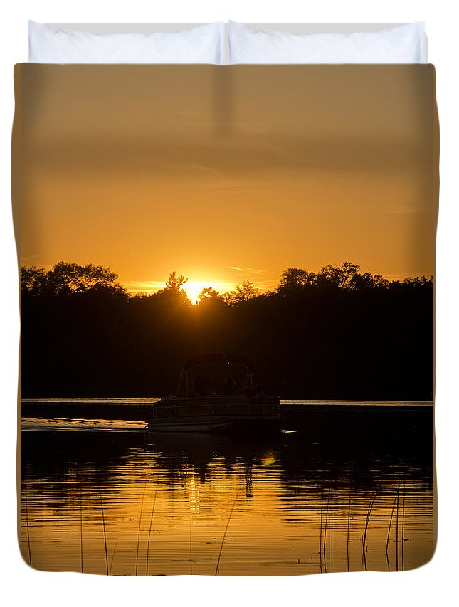 Ice Duvet Cover featuring the photograph Sunset Over The Pontoon by Cassie Marie Photography