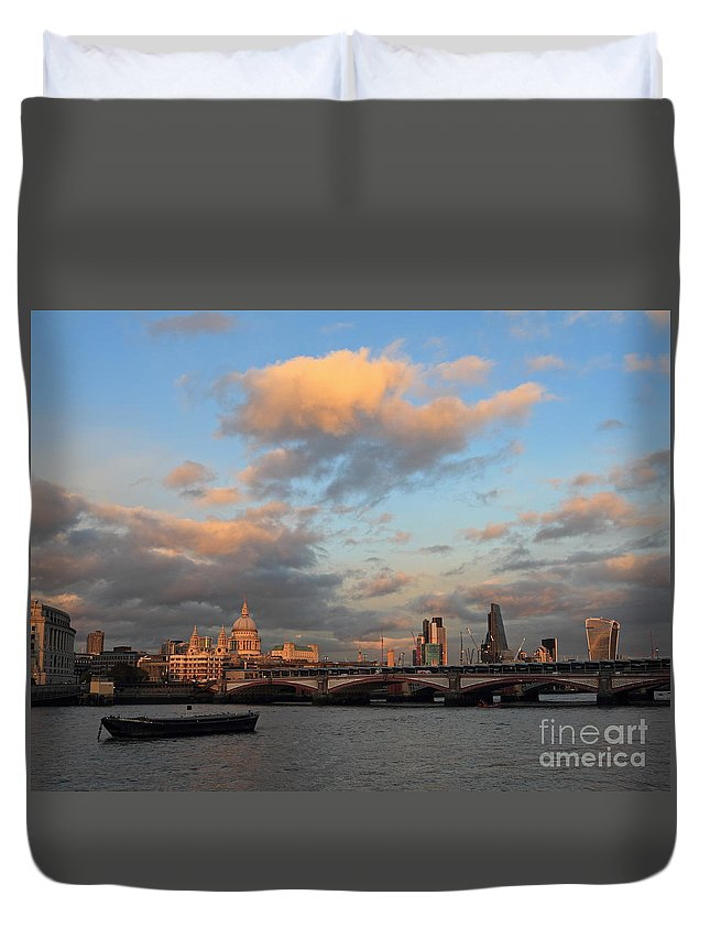 Duvet Cover featuring the photograph Sunset Over The River Thames London by Julia Gavin