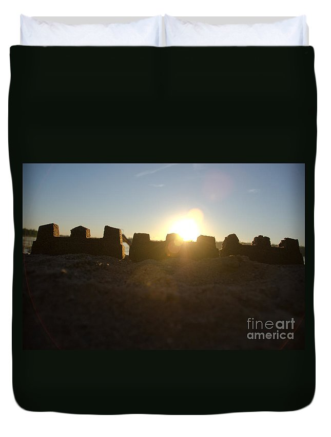 Ice Duvet Cover featuring the photograph Sunset Over The Sand Castle 3 by Cassie Marie Photography