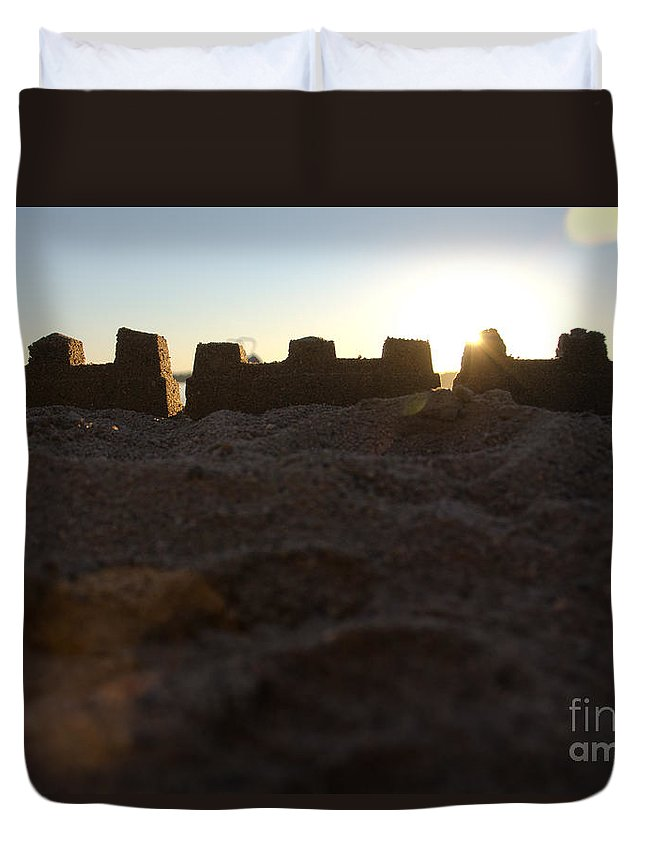 Ice Duvet Cover featuring the photograph Sunset Over The Sand Castle 4 by Cassie Marie Photography