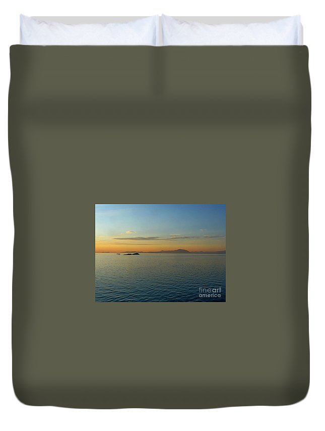 Sunset Duvet Cover featuring the photograph Sunset Over Vancouver Island by Lena Photo Art