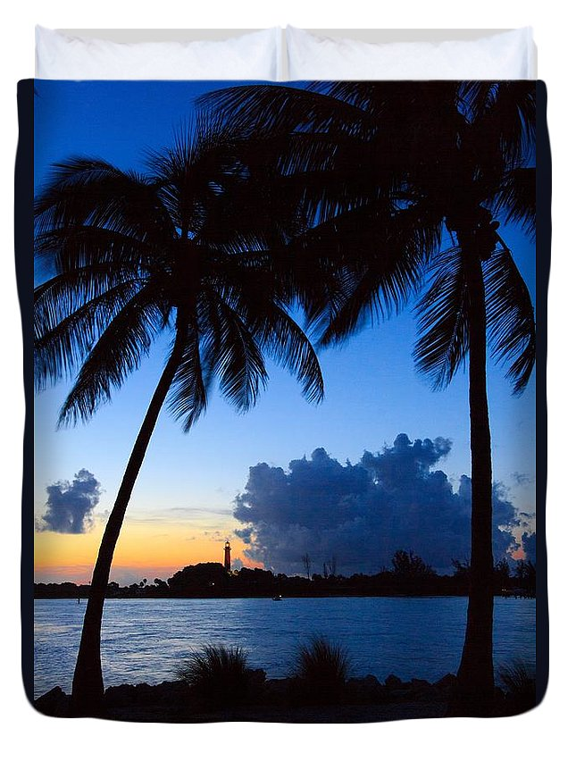 Lighthouse Duvet Cover featuring the photograph Sunset Overlooking Jupiter Lighthouse by Lucy Raos