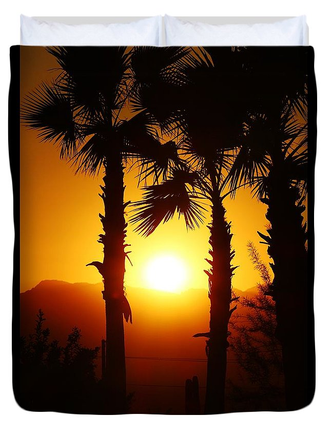 Palm Duvet Cover featuring the photograph Sunset Palms by Long Love Photography