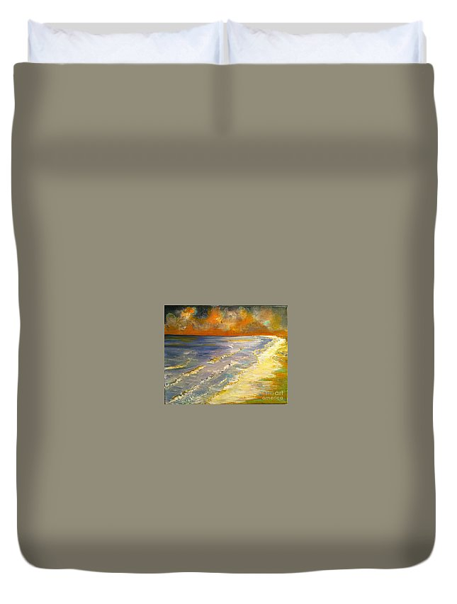 Sunset Duvet Cover featuring the painting Sunset Passion At Cranes Beach by Jacqui Hawk