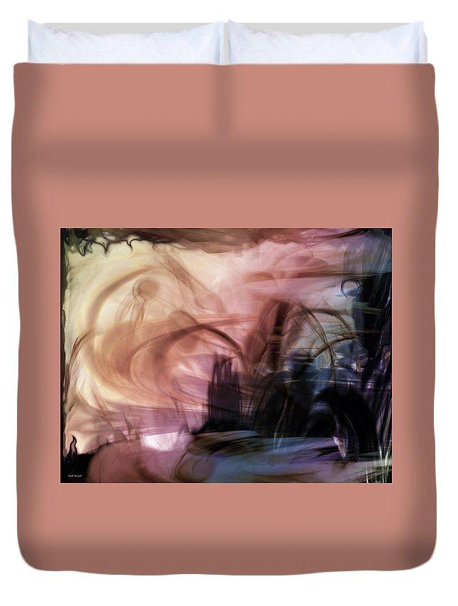 Sunset Pond Duvet Cover featuring the digital art Sunset Pond by Linda Sannuti