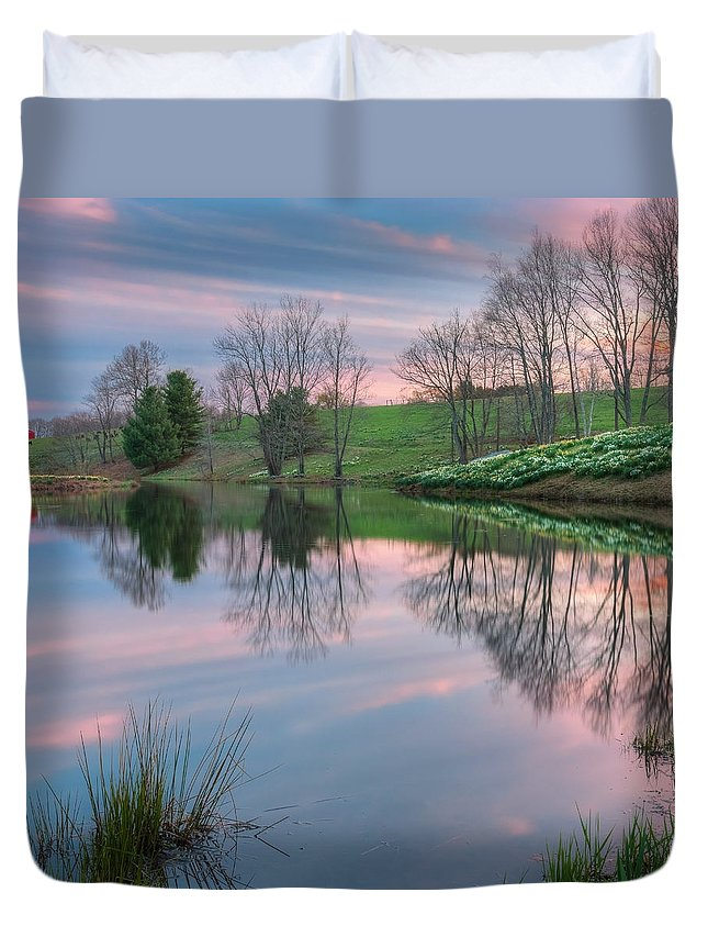 Daffodil Duvet Cover featuring the photograph Sunset Reflections Square by Bill Wakeley