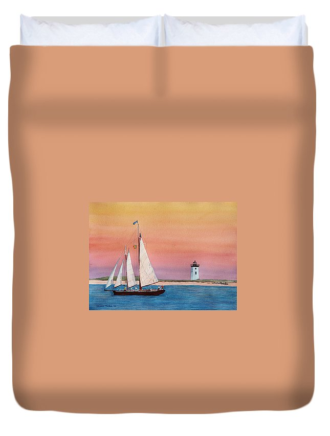 Sailboat Duvet Cover featuring the painting Sunset Sail by Sharon Farber