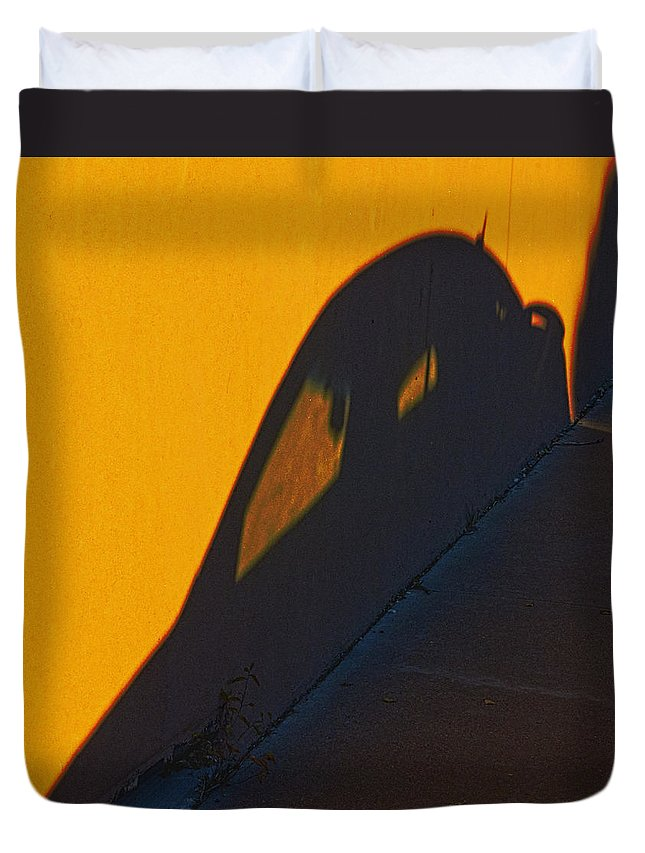 Orange Duvet Cover featuring the photograph Sunset Shadow Car by John Hansen