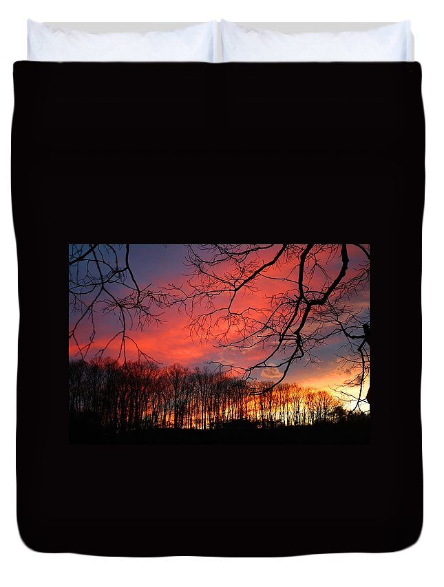 Sunset Duvet Cover featuring the photograph Sunset Spectacular by Kathryn Meyer