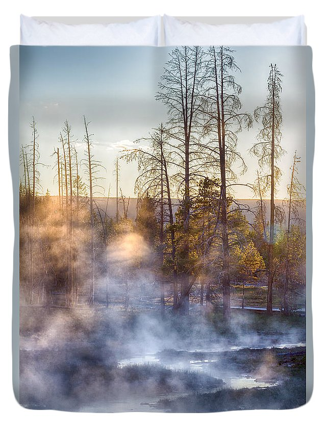 Creek Duvet Cover featuring the photograph Sunset Steam by Jayme Spoolstra