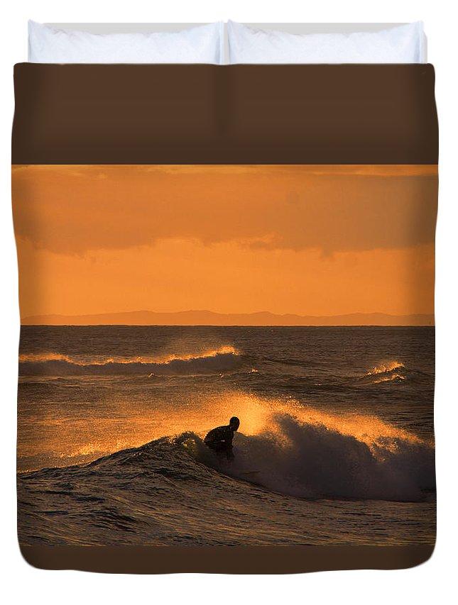 Sunset Duvet Cover featuring the photograph Sunset Surfer by Douglas Barnard