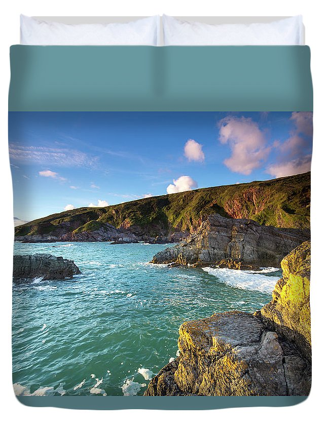 Tranquility Duvet Cover featuring the photograph Sunset Taken From Polhawn Whitsand Bay by Marksaundersphotography.com