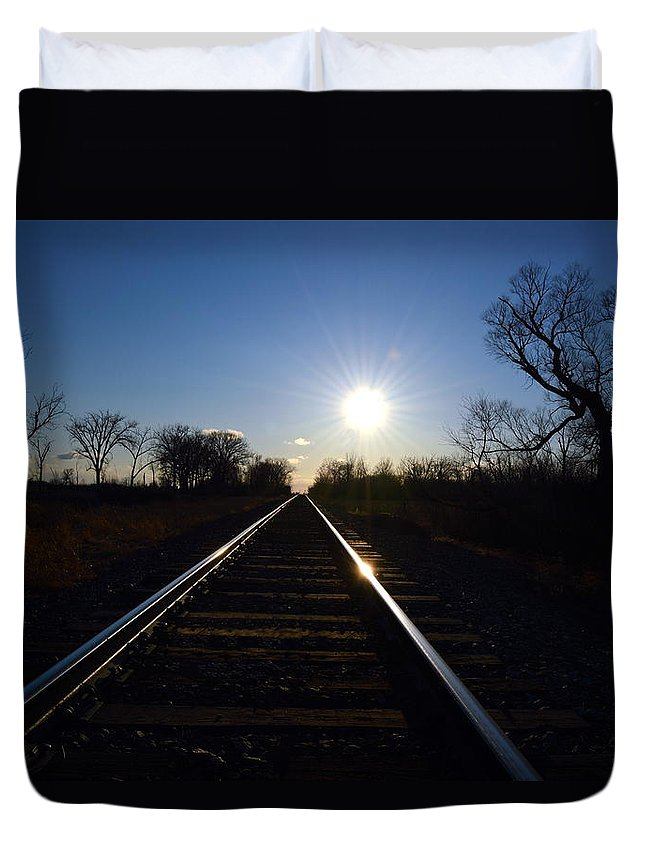 Sunset Duvet Cover featuring the photograph Sunset Tracks by Mark Hudon