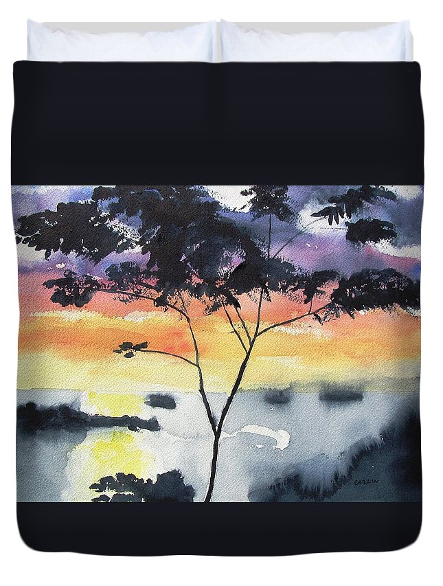 Tree Silhouette Duvet Cover featuring the painting Sunset Tree Koh Chang Thailand by Carlin Blahnik CarlinArtWatercolor