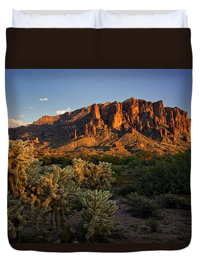 Sunset Duvet Cover featuring the photograph Sunset View Of The Superstitions by Saija Lehtonen