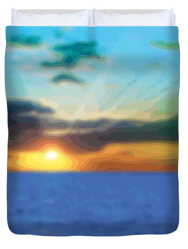 Abstract Duvet Cover featuring the digital art Sunset Waters by James Kramer