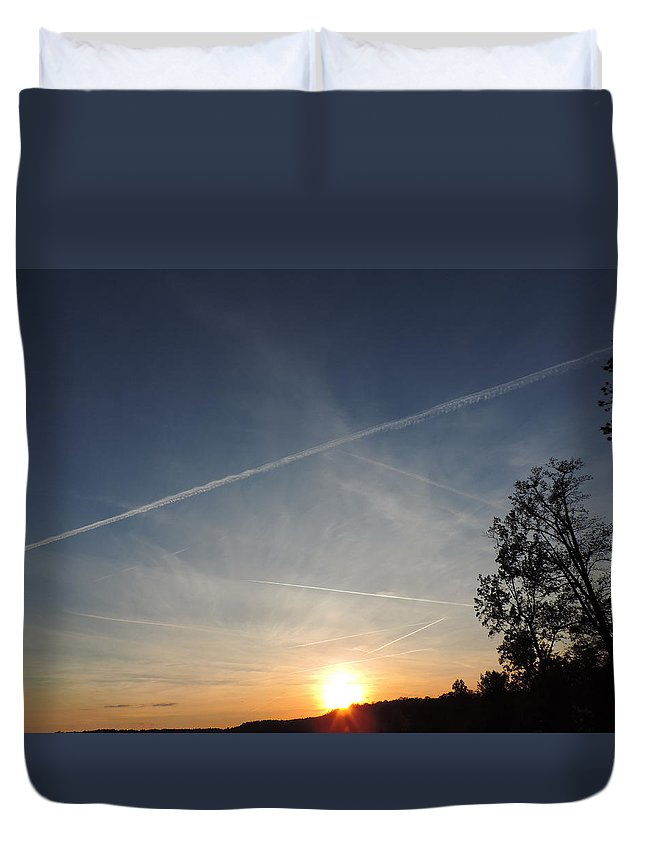 Dusk Duvet Cover featuring the photograph Sunset With Trees by Cityscape Photography