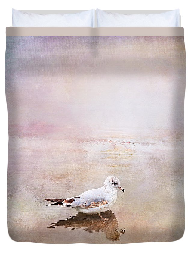 Sunset Duvet Cover featuring the photograph Sunset With Young Seagull by Theresa Tahara