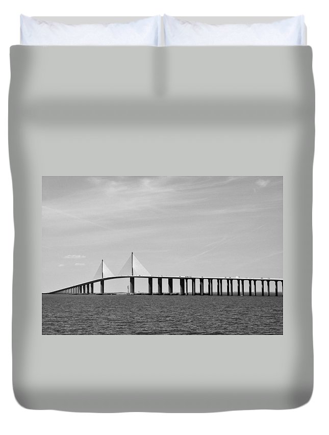 4.1 Duvet Cover featuring the photograph Sunshine Skyway Bridge Bw II Tampa Bay Florida Usa by Sally Rockefeller