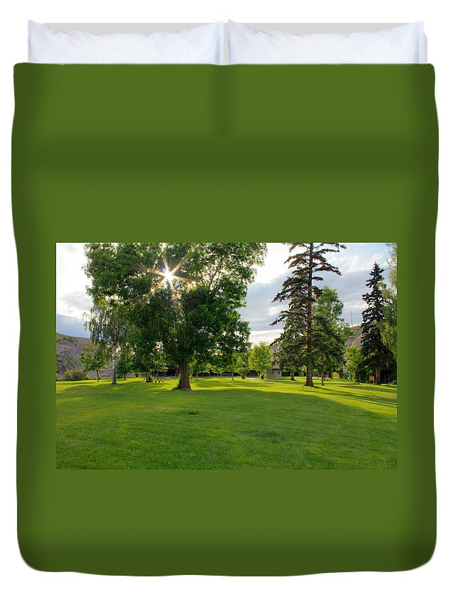 Landscape Duvet Cover featuring the photograph Sunshine Through The Trees by John Lee