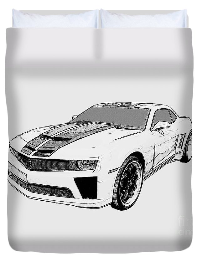 Camaro Duvet Cover featuring the digital art Super Bee Camaro by Tommy Anderson