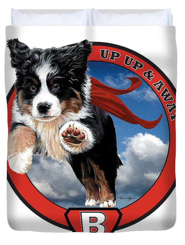 Bernese Mountain Dog Berner Pup Puppy Flying Sky Up Up And Away Red Super Cape B Is For Berner Love Happy Playing Liane Weyers Artist Painting Art Love Duvet Cover featuring the painting Super Berner by Liane Weyers