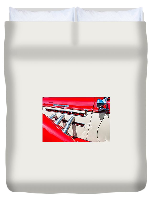 1935 Auburn Boattail Speedster Duvet Cover featuring the photograph Super-charged by Guy Whiteley