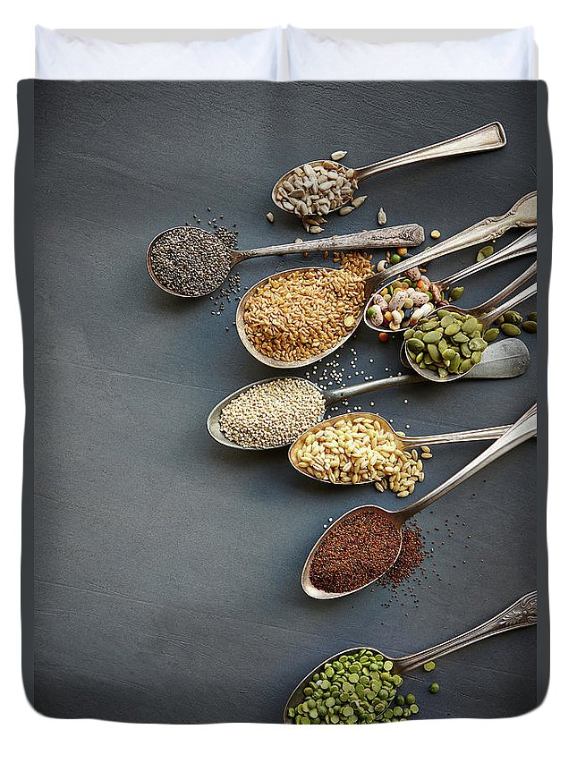 In A Row Duvet Cover featuring the photograph Super Food Grains On Spoons by Lew Robertson