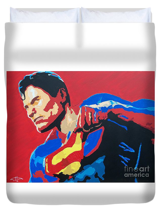 Superman Duvet Cover featuring the painting Superman - Red Sky by Kelly Hartman