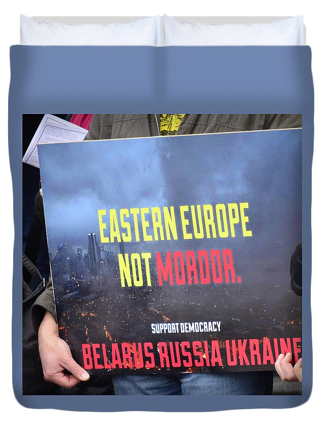 Street Photography Duvet Cover featuring the photograph Support Democracy by The Artist Project
