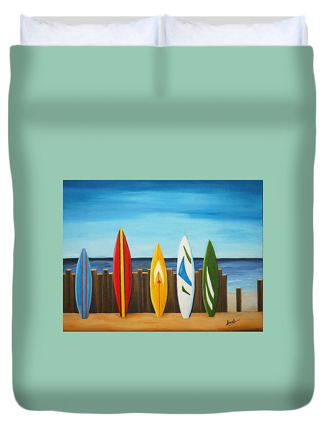 Blue Duvet Cover featuring the painting Surf On by Sonali Kukreja