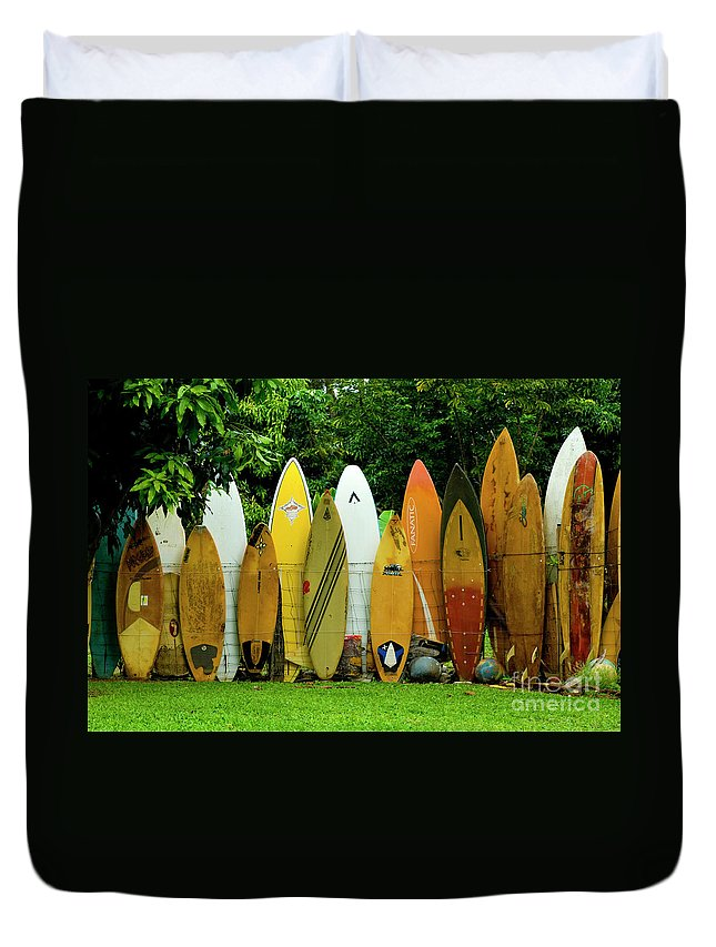 Surf Board Duvet Cover featuring the photograph Surfboard Fence Maui by Bob Christopher