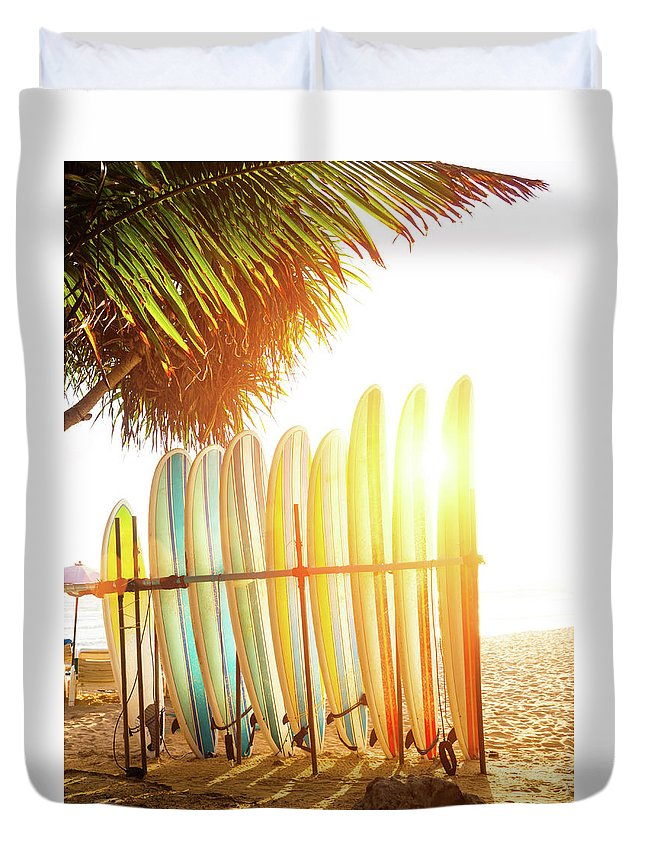 Recreational Pursuit Duvet Cover featuring the photograph Surfboards At Ocean Beach by Arand