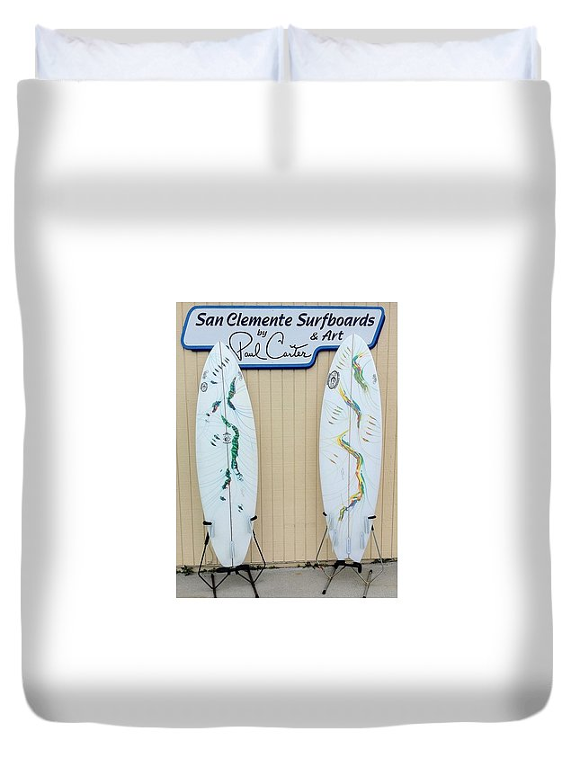 Surfboardsprint Duvet Cover featuring the painting Surfboards In San Clemente by Paul Carter
