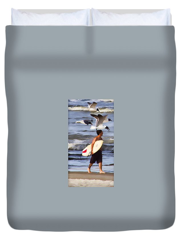 Surfer Birds Ocean Waves Duvet Cover featuring the photograph Surfer And The Birds by Alice Gipson
