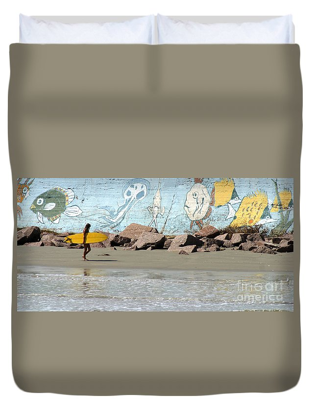 Gary Gingrich Duvet Cover featuring the photograph Surfer Beach 1034b by Gary Gingrich Galleries