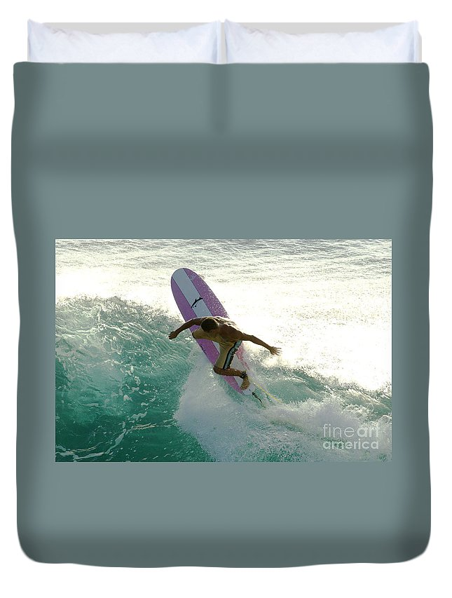 Surf Duvet Cover featuring the photograph Surfer Cutting Back by Bob Christopher