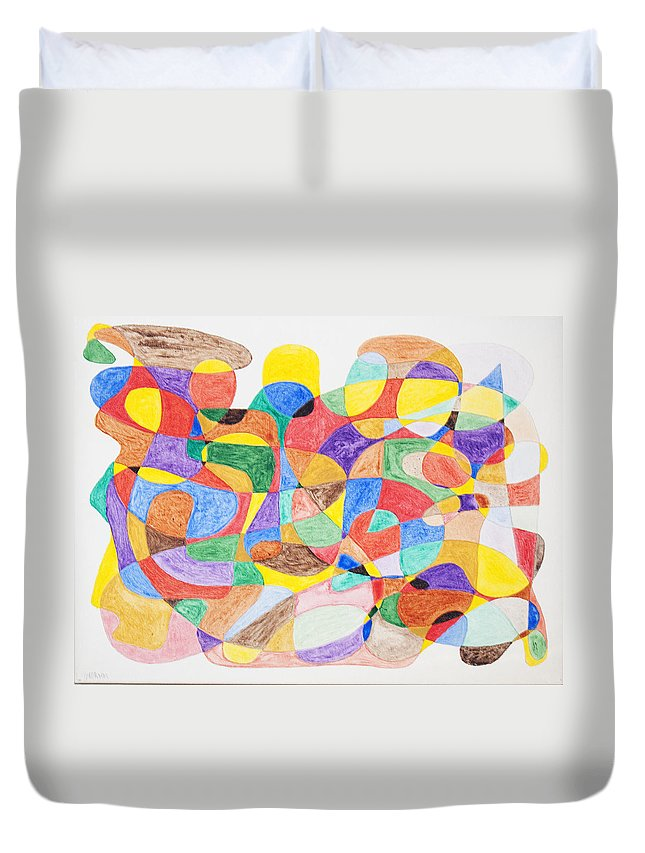 Abstract Duvet Cover featuring the painting Abstract Dance Party by Stormm Bradshaw