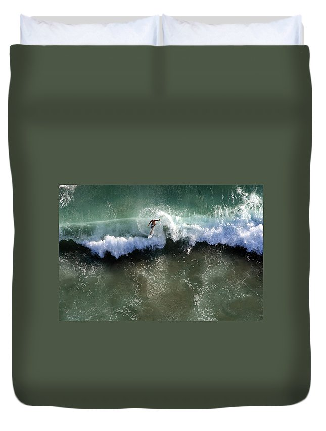 Surf Duvet Cover featuring the photograph Surfer From The Sky by John Ferrante