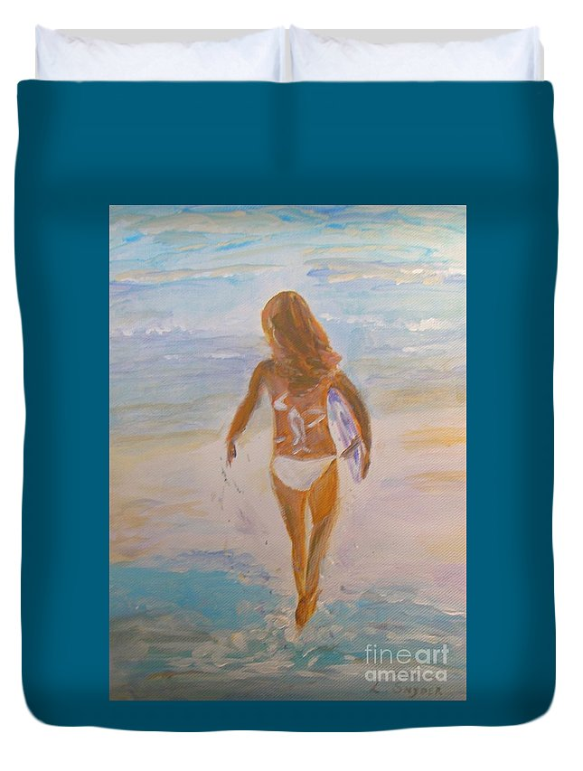 Surfer Girl Duvet Cover featuring the painting Surfer Girl by Liz Snyder