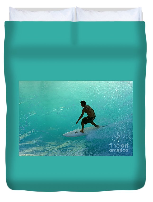 Surf Duvet Cover featuring the photograph Surfer In The Zone by Bob Christopher